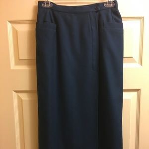 Vintage Teal Blue Guy LaRoche 100%Wool Skirt Sz Sm